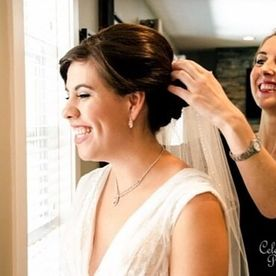 Hair being styled for wedding