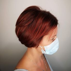 short styled woman hair