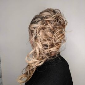 Styled blonde hair